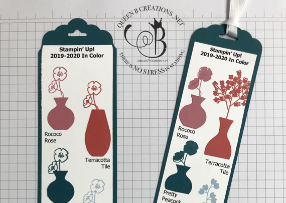 Stampin' Up! 2019-2021 In Color Bookmark made using the Tag Topper Punch and Varied Vases stamp set by Lisa Ann Bernard of Queen B Creations