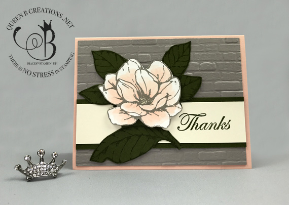 Stampin' Up! Good Morning Magnolia handmade Thank You card DIY by Lisa Ann Bernard of Queen B Creations