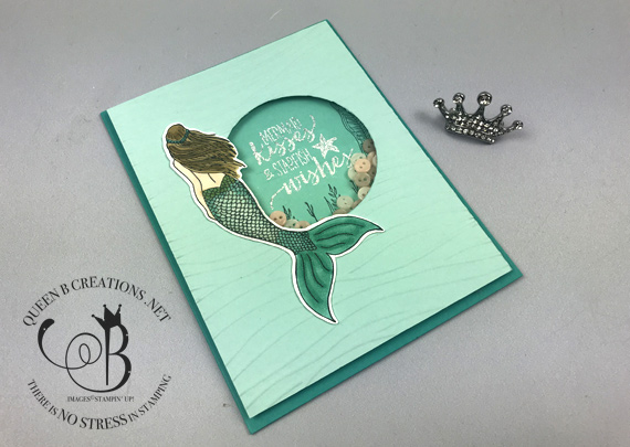 Stampin' Up! Magical Mermaid shaker card by Lisa Ann Bernard of Queen B Creations