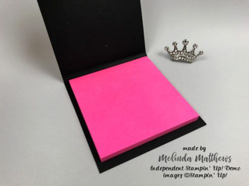 Post-It note holder by Melinda Matthews Independent Stampin' Up! demonstrator for Queen B Creations