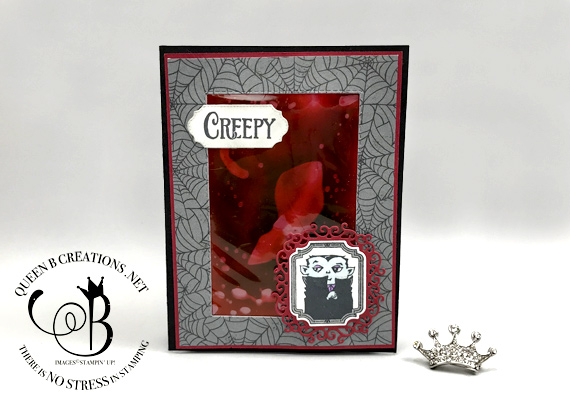 Stampin' Up! Spooktacular Fake Blood technique with video handmade card by Lisa Ann Bernard of Queen B Creations
