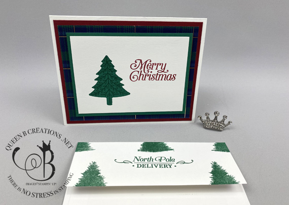 Stampin' Up! Perfectly Plaid bundle Wrapped in Plaid DSP handmade Christmas Card by Lisa Ann Bernard of Queen B Creations