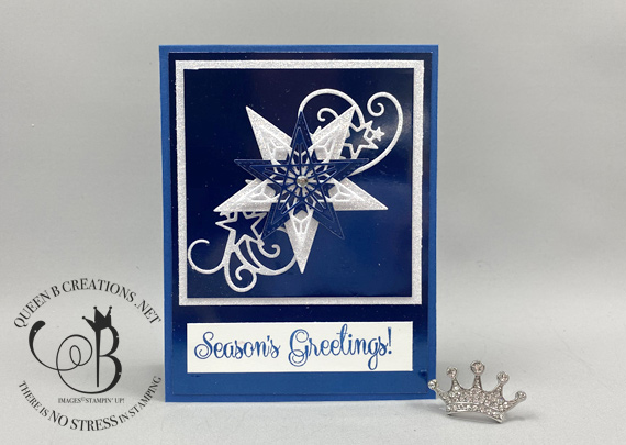 Stampin' Up! So Many Stars Stitched Stars Noble Peacock Foil Sparkle Glimmer Christmas Card by Lisa Ann Bernard of Queen B Creations
