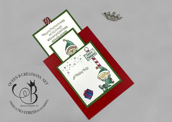Stampin' Up! #Elfie Double Slider technique Christmas card fun fold card by Lisa Ann Bernard of Queen B Creations