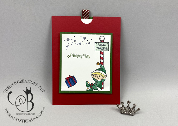 Stampin' Up! #Elfie Double Slider technique Christmas card fun fold card by Lisa Ann Bernard of Queen B Creations