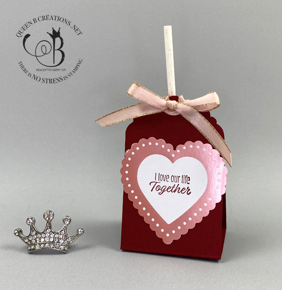 Stampin' Up! Meant to Be From My Heart DSP handmade card valentines day treat by Lisa Ann Bernard of Queen B Creations
