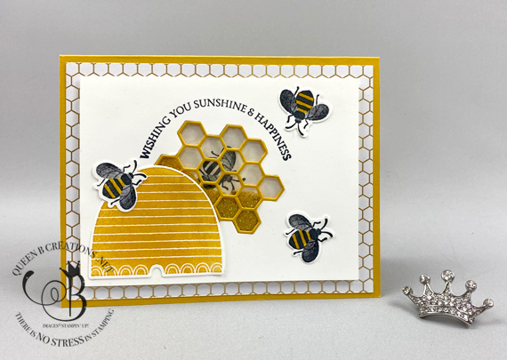 Stampin' Up! Honey Bee Detailed Bee shaker card technique with video tutorial by Lisa Ann Bernard of Queen B Creations