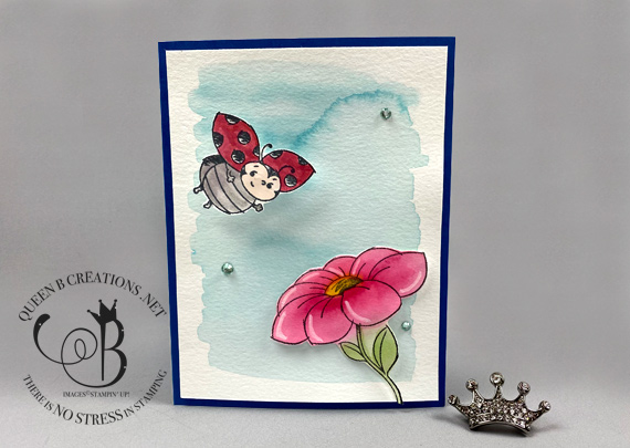 Stampin' Up! Little Ladybug watercolor wobble card by Lisa Ann Bernard of Queen B Creations