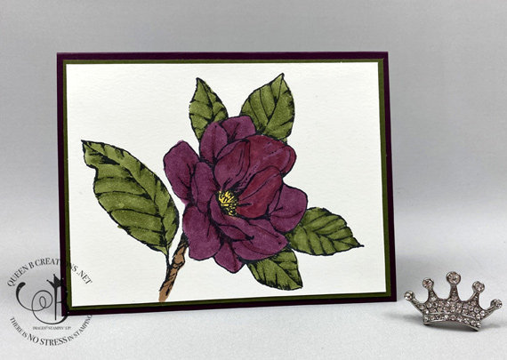 Stampin' Up! Good Morning Magnolia in Blackberry Bliss stampin' blends card by Lisa Ann Bernard of Queen B Creations