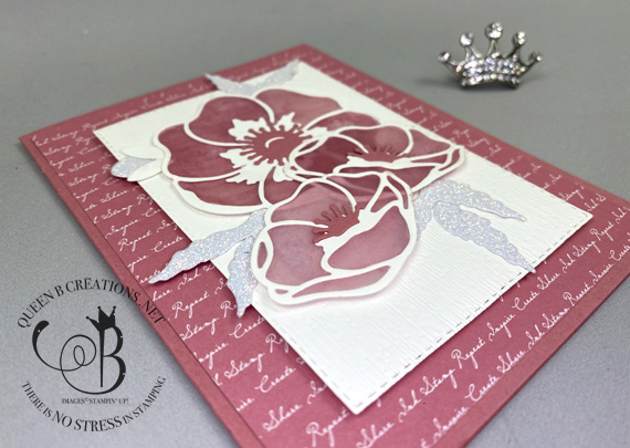 Stampin' Up! Poppy Moments vellum stampin' blends colored handmade card by Lisa Ann Bernard of Queen B Creations