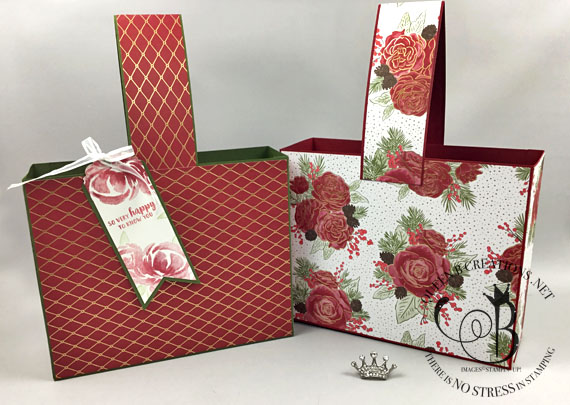 Stampin' Up! Christmas Time is Here DSP large gift bag by Lisa Ann Bernard of Queen B Creations
