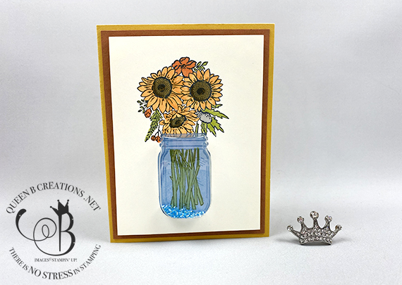 Stampin' Up! Jar of Flowers bundle Jar Shaker Dome vase of Sunflowers thank you card by Lisa Ann Bernard of Queen B Creations