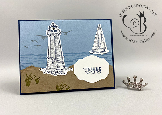 Stampin' Up! light up Smooth Sailing / High Tide lighthouse card by Lisa Ann Bernard of Queen B Creations using Chibitronics