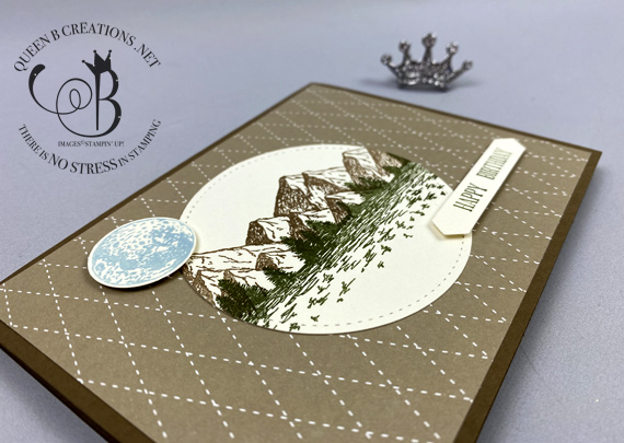 Stampin' Up! Mountain Air masculine happy birthday card by Lisa Ann Bernard of Queen B Creations