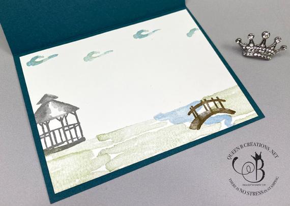 stampin' Up! My Meadow bridge in tulip field card by Lisa Ann Bernard of Queen B Creations