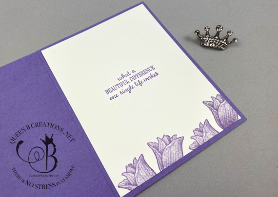 Stampin' Up! Timeless Tulips Tulip Builder Punch purple birthday card by Lisa Ann Bernard of Queen B Creations