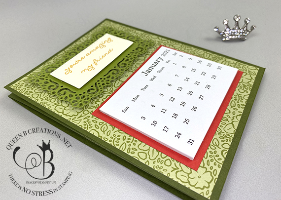 Stampin' Up! Ornate Garden Thanks mini desk calendar by Lisa Ann Bernard of Queen B Creations