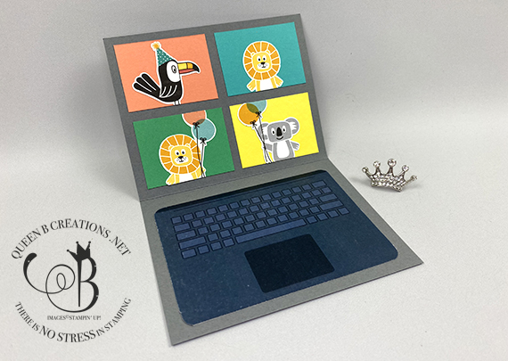 Stampin' Up! Many Mates Bonanza Buddies laptop zoom meeting card by Lisa Ann Bernard of Queen B Creations