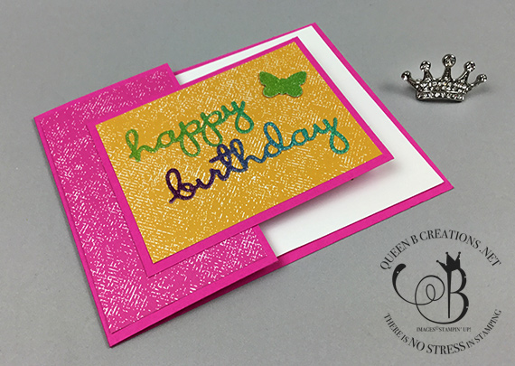 Stampin' Up! In Color DSP Glimmer Paper and Well Written Dies handmade Happy Birthday card by Lisa Ann Bernard of Queen B Creations