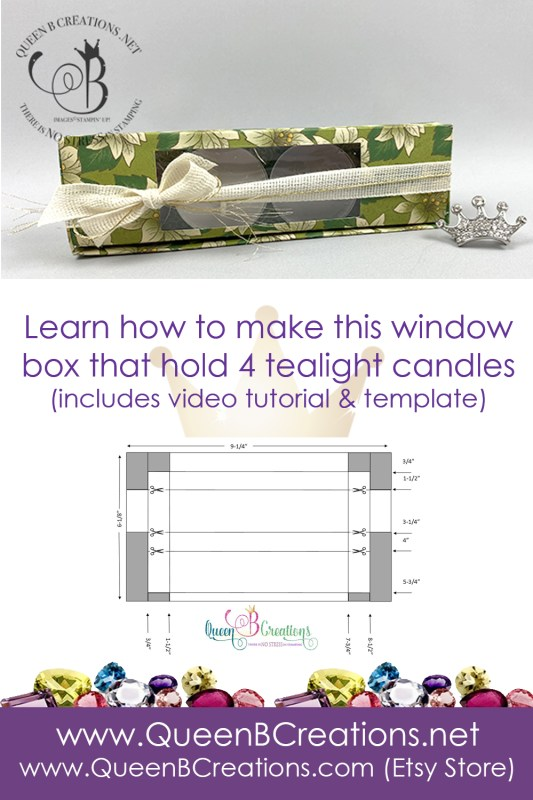 Stampin' Up! Wonder of the Season tealight box by Lisa Ann Bernard of Queen B Creations with template and video tutorial