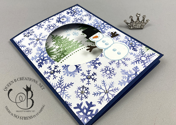Stampin' Up! Snowman Season peek a boo card by Lisa Ann Bernard of Queen B Creations