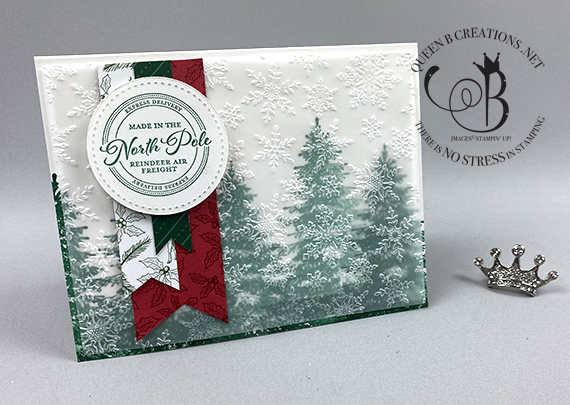 Stampin' Up! Winter Woods snowflakes Christmas card by Lisa Ann Bernard of Queen B Creations
