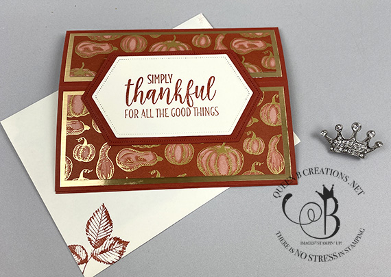 Stampin' Up! Gilded Autumn landscape easel card by Lisa Ann Bernard of Queen B Creations