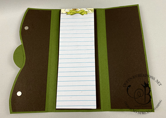 Stampin' Up! Poinsettia Place dsp notepad holder by Lisa Ann Bernard of Queen B Creations