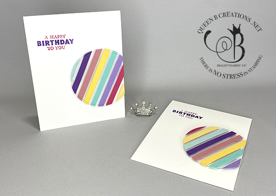 Stampin' Up! Floating Circle Scrap Strips handmade birthday card by Lisa Ann Bernard of Queen B Creations