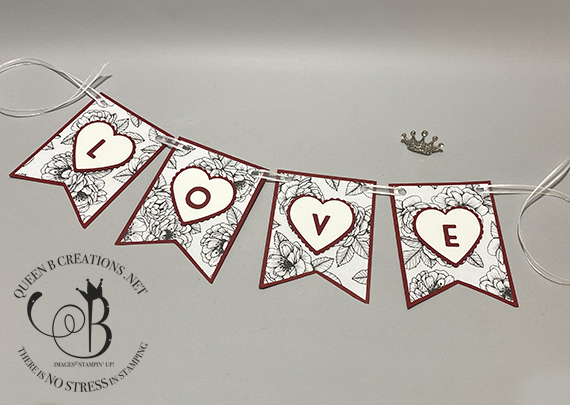 Stampin' Up! Playful Alphabet True Love Heart Punch Valentines Day love banner by Lisa Ann Bernard of Queen B Creations