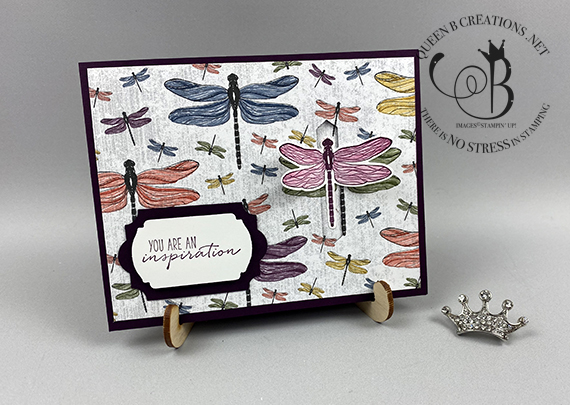 Stampin' Up! Dragonfly Garden Inspiration dragonfly closure card by Lisa Ann Bernard of Queen B Creations