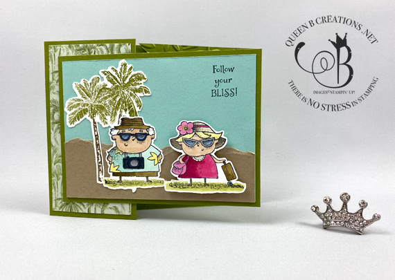 Stampin' Up! On To Adventure corner tuck fold technique retirement card by Lisa Ann Bernard of Queen B Creations