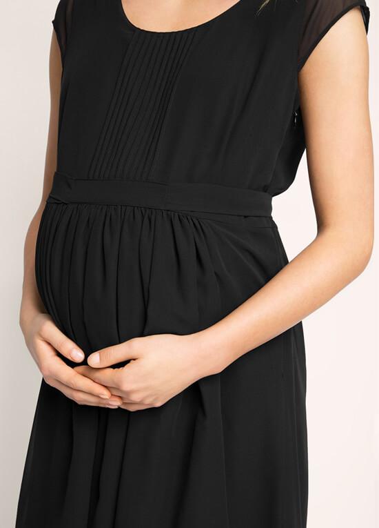 Chiffon Pleat Detail Maternity Dress In Black By Esprit