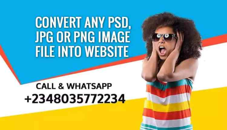 Convert any PSD JPG or PNG Image File Into Website