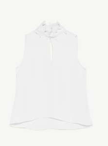 Closed Neck White Top by Zara