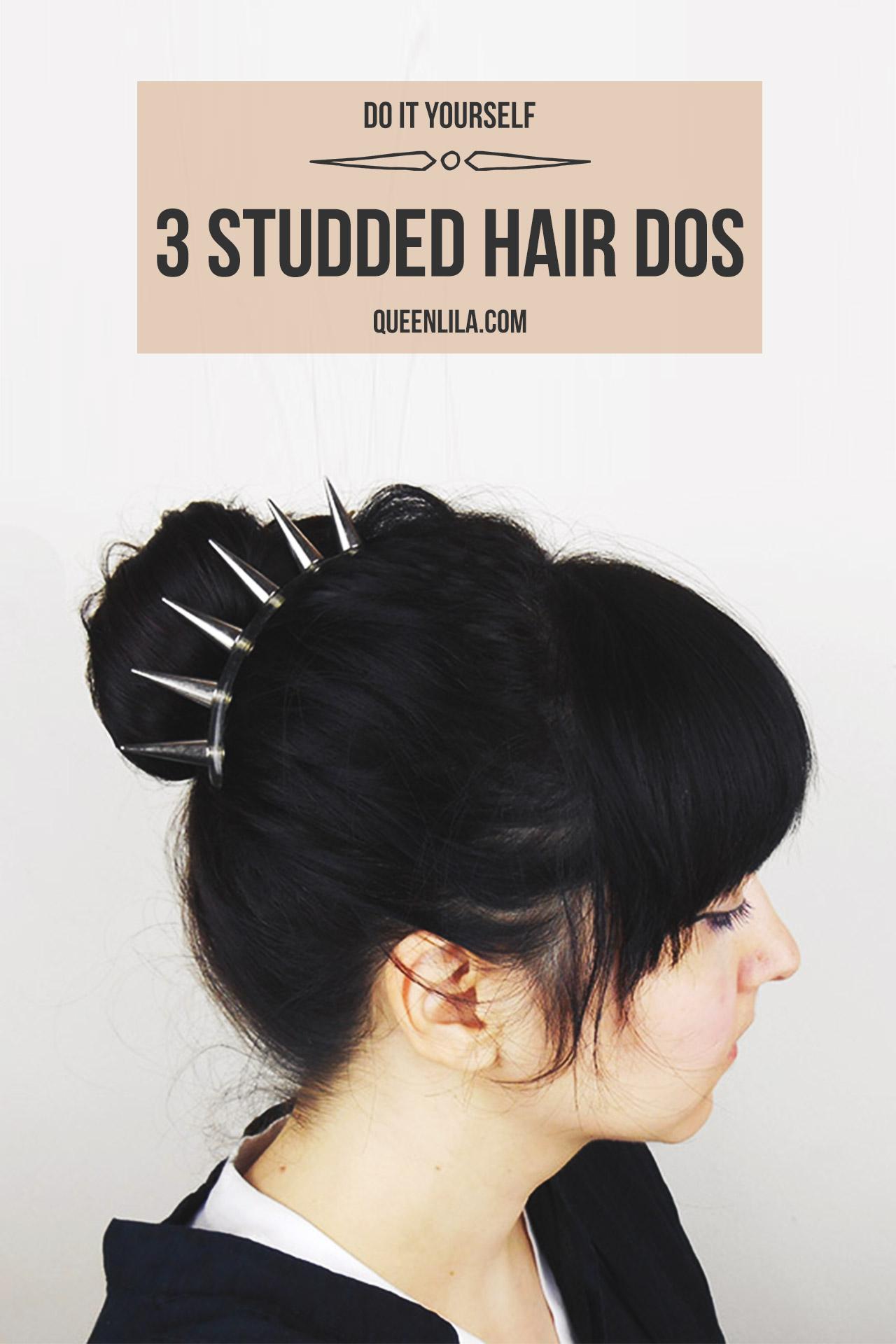 3 Studded hair dos. Click through for the tutorial! | Queen Lila