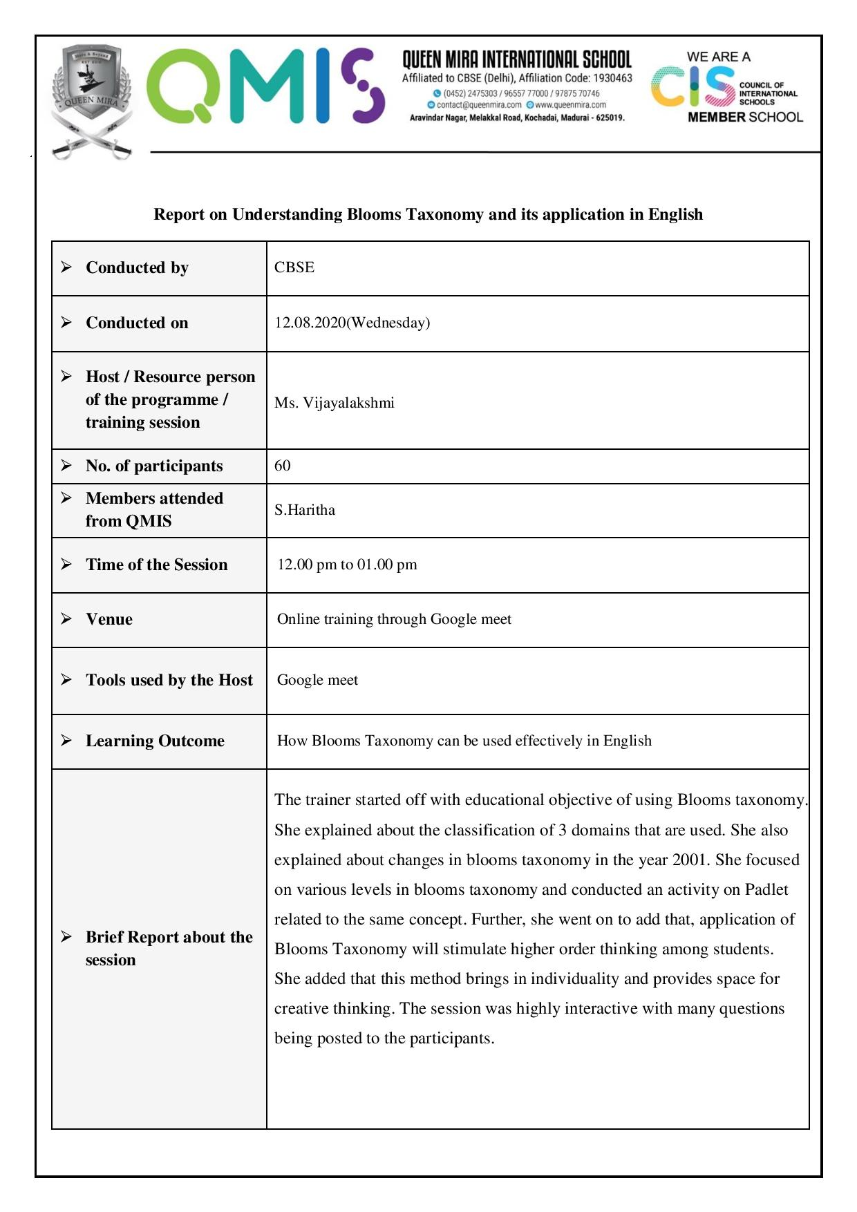 Report On Understanding Bloom S Taxonomy And Its