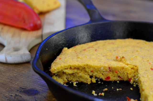 Gluten-free Spicy Coconut Cornbread.  A delicious variation on traditional cornbread.  Creamed corn and sour cream make this cornbread extra moist. | QueenofMyKitchen.com