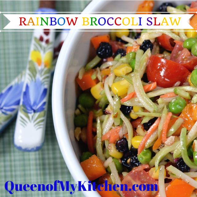 A healthy, delicious, and gluten free broccoli slaw salad with the colors of the rainbow. | QueenofMyKitchen.com