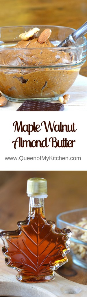 Maple Walnut Almond Butter. A delicious variation on almond butter. | QueenofMyKitchen.com