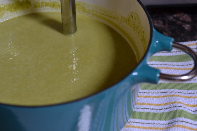 Pea Parmesan Soup is simple enough to prepare for a quick weeknight meal but elegant enough to serve at a fancy dinner party. | QueenofMyKitchen.com