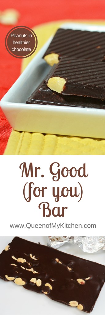 mr. Good(for you)bar - peanuts in healthier chocolate. Homemade chocolate bars with peanuts. Made with only 5 ingredients. | QueenofMyKitchen.com