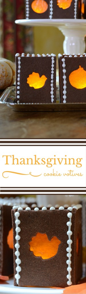 These Thanksgiving Cookie Votives are a unique and memorable decoration for your Thanksgiving dinner table and they double as dessert. | QueenofMyKitchen.com