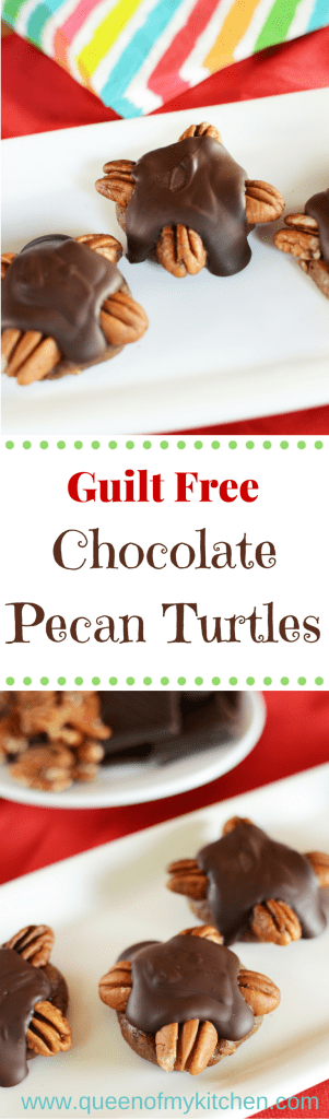 Guilt Free Chocolate Pecan Turtles are made with healthy ingredients and have less than half the sugar of a traditional chocolate turtle candy.| QueenofMyKitchen.com