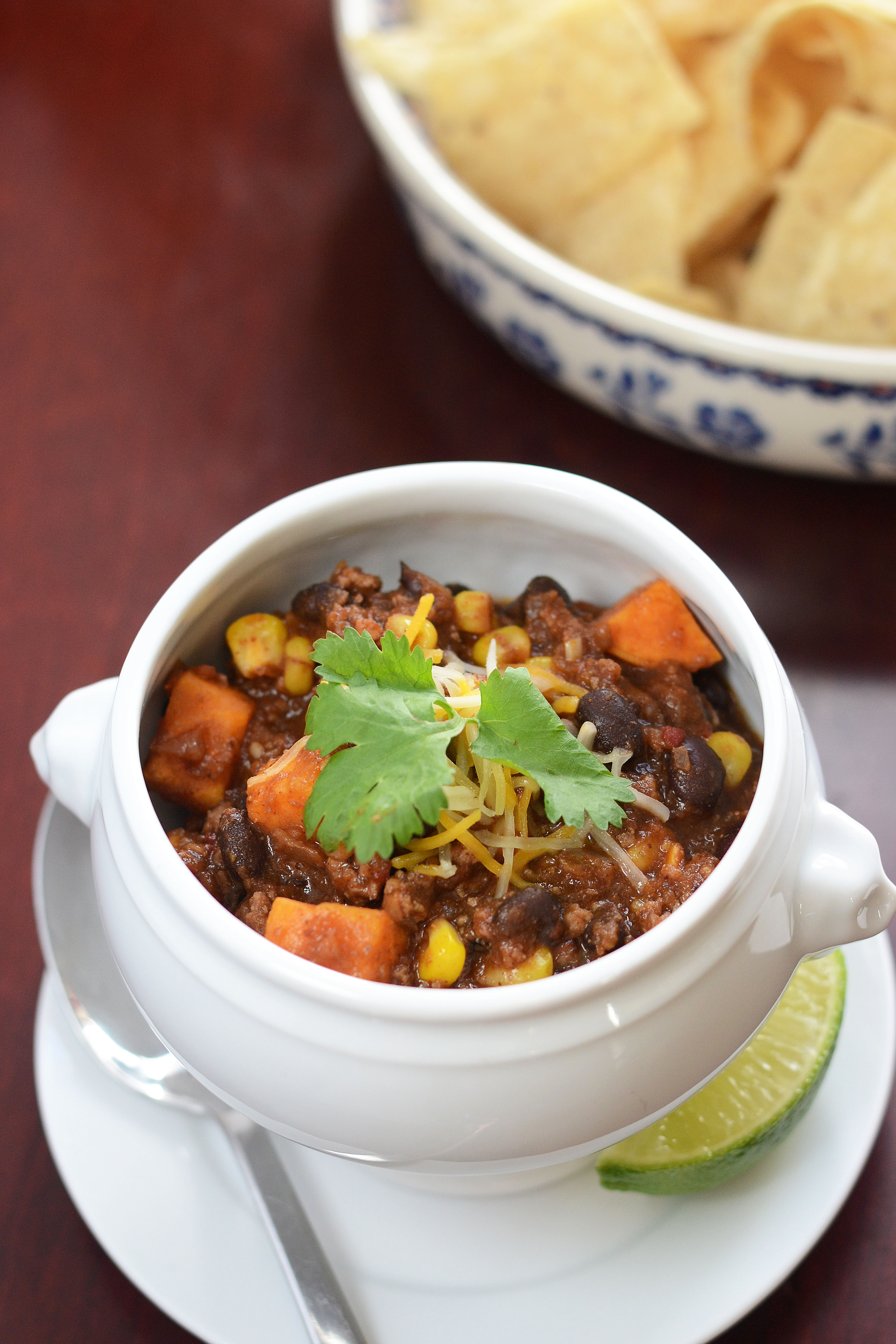 Turkey, Sweet Potato, and Black Bean Chili with Chipotle and
