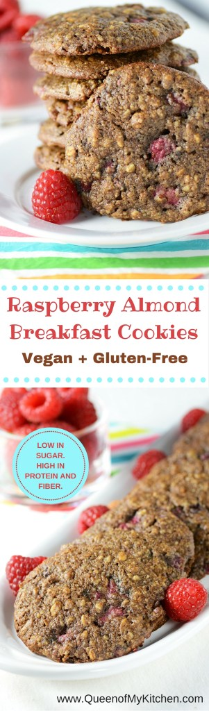 Raspberry Almond Breakfast Cookies - a perfect on-the-go healthy breakfast. Vegan and gluten free with 5g of fiber, 8 g of protein, and only 7g of sugar. | QueenofMyKitchen.com