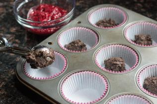 Raspberry Chia Black Bean Brownie Cups