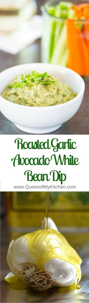 Roasted Garlic Avocado White Bean Dip - Vegan, gluten-free and infused with fresh basil. Packed with protein, fiber and only 111 calories per 1/4 cup serving. | QueenofMyKitchen.com