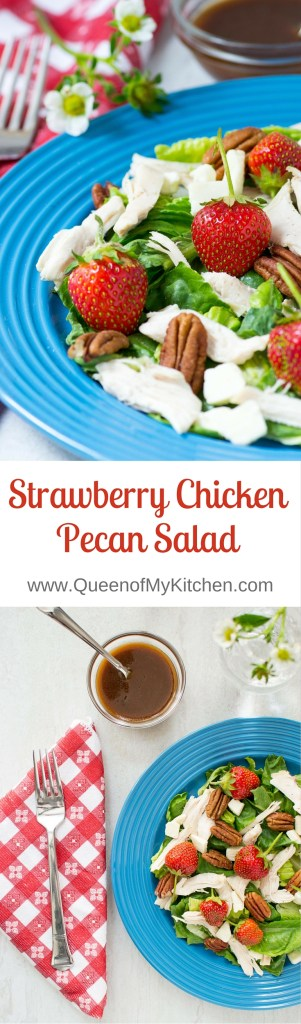 Strawberry Chicken Pecan Salad with Feta Cheese and Maple Balsamic Vinaigrette - a salad with a magical combination of flavors and textures, and the ultimate salad for strawberry season! | QueenofMyKitchen.com