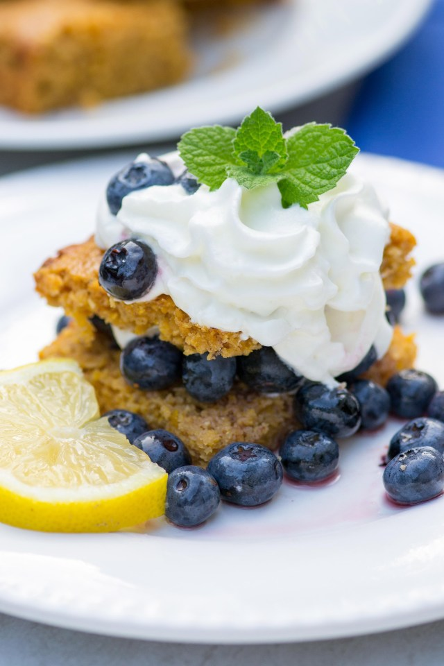 Lemon Blueberry Cornmeal Shortcake – This delicious dessert is bursting with lemony flavor and whole grain goodness! It's gluten-free and made with cornmeal, almond meal, avocado oil, coconut sugar, Greek yogurt, and fresh blueberries. | QueenofMyKitchen.com